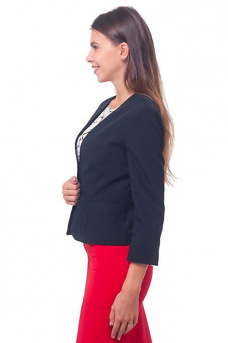 Купить жакет черный без воротника с карманами Деловая женская одежда