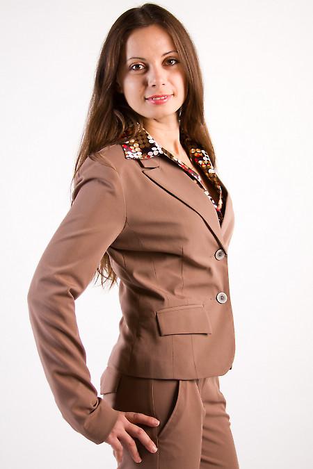 Фото Жакет коричневый с английским воротником Деловая женская одежда