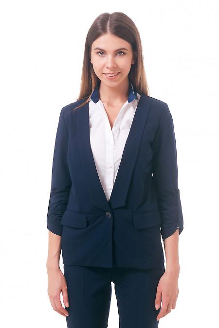 Фото Жакет синий без подкладки Деловая женская одежда