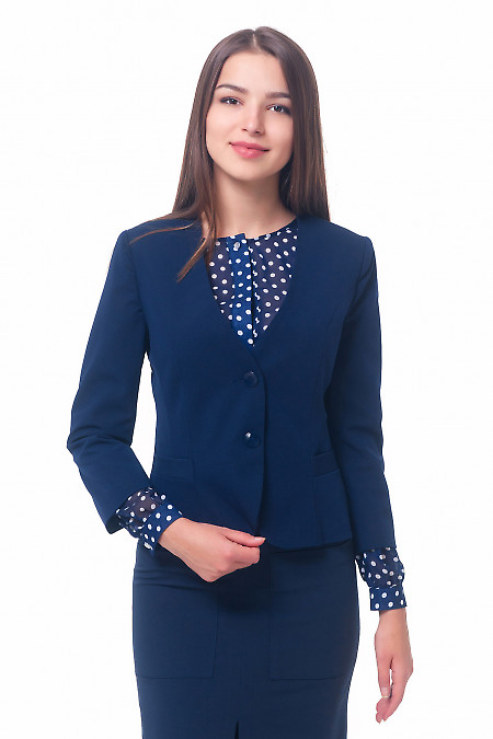 Жакет синий без воротника с карманами Деловая женская одежда