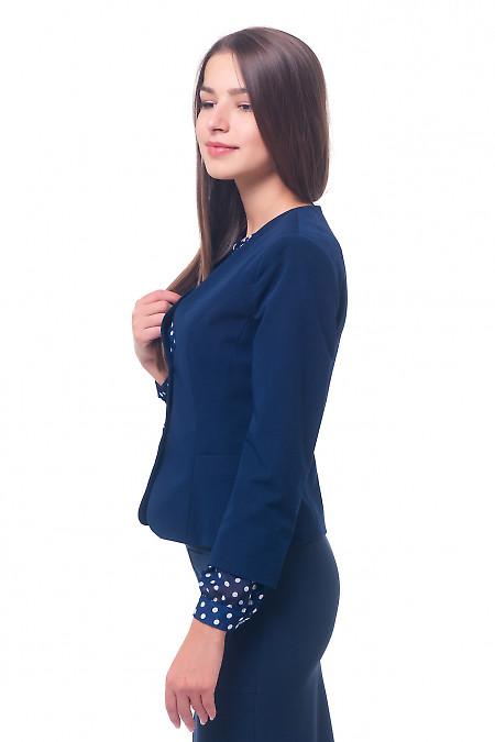 Купить жакет синий без воротника с карманами Деловая женская одежда