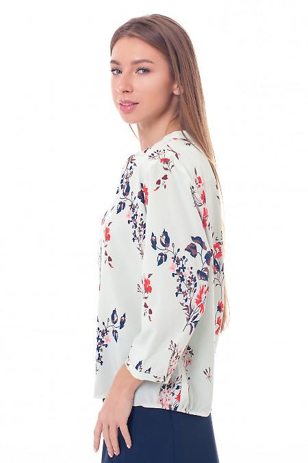 Купить бирюзовую блузку в коричневые веточки Деловая женская одежда фото