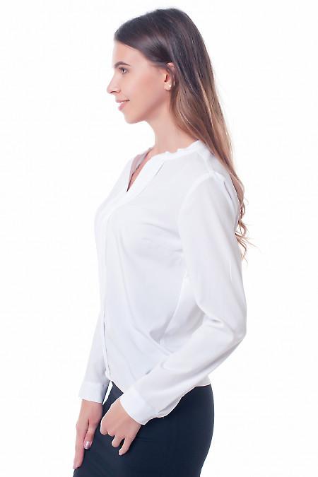 Купить блузку белую с резинками сбоку Деловая женская одежда фото