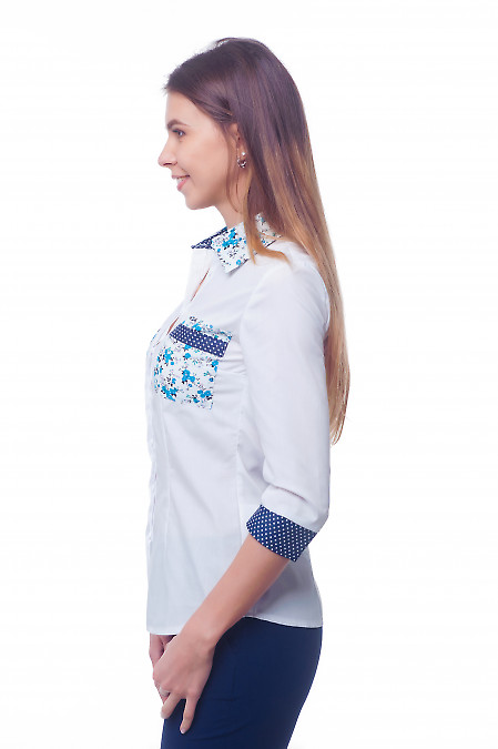 Купить блузку белую с синими карманами Деловая женская одежда фото