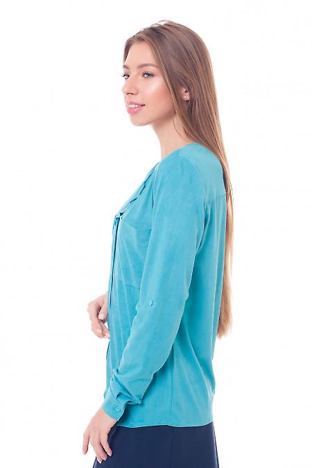 Купить бирюзовую блузку из замши Деловая женская одежда фото