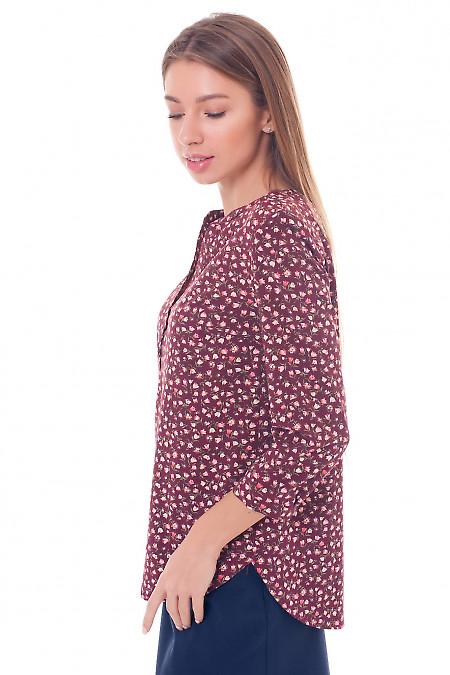 Купить блузку бордовую в тюльпанчики Деловая женская одежда фото