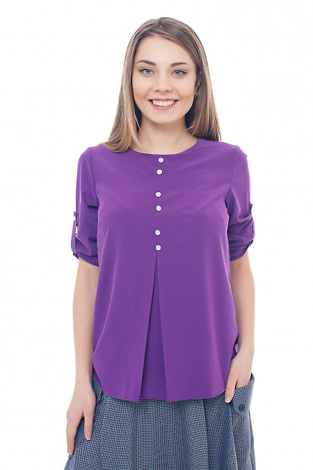 Фиолетовая блузка со встречной складкой Деловая женская одежда фото