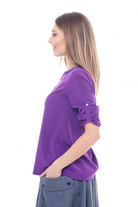 Купить фиолетовую блузку со встречной складкой Деловая женская одежда фото