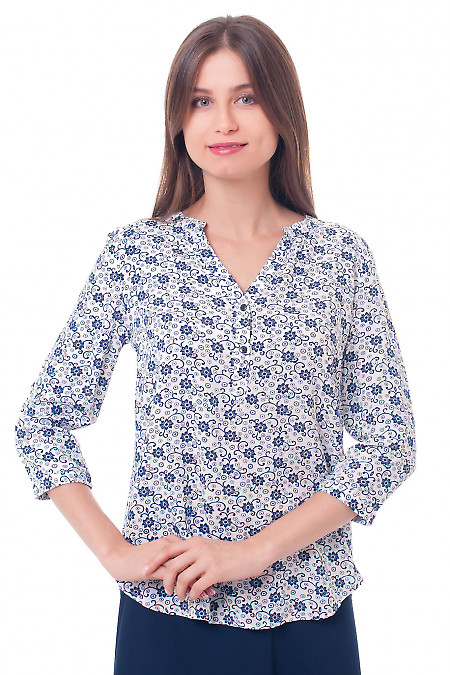 Блузка с планкой в синие ромашки Деловая женская одежда фото