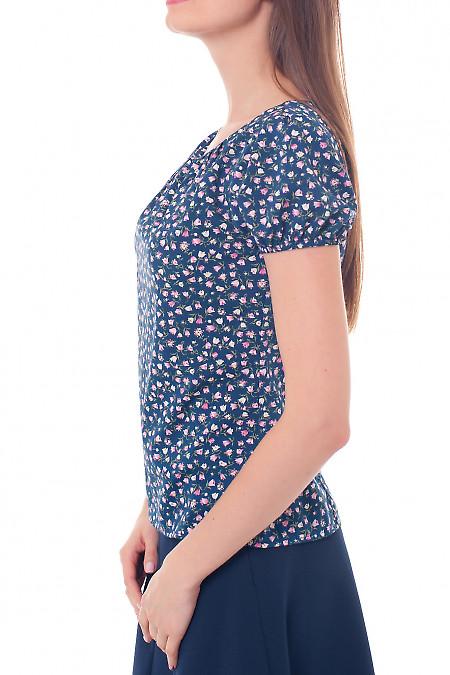 Купить блузку синюю со сборкой на горловине Деловая женская одежда фото