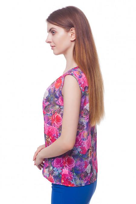 Купить блузку сиреневую в розовые цветы Деловая женская одежда фото