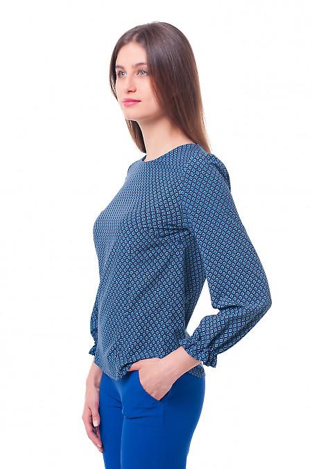 Купить блузку в синий ромб с резинкой на рукаве Деловая женская одежда фото