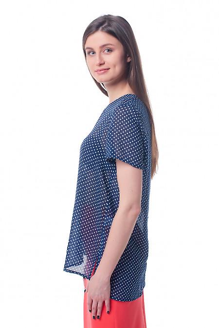 Купить синюю футболку в белый горох Деловая женская одежда фото