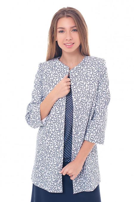 Кардиган белый в серые листики Деловая женская одежда фото