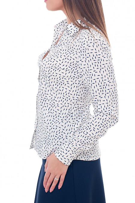 Купить молочную блузку в галочку Деловая женская одежда фото