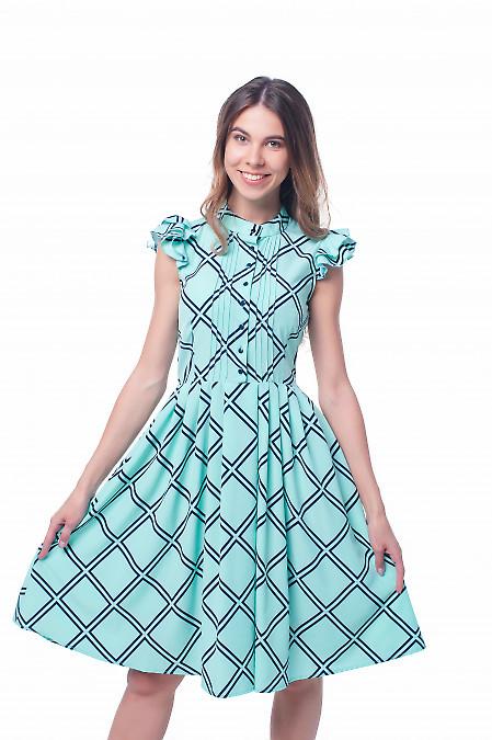 Платье бирюзовое в черную клетку Деловая женская одежда фото