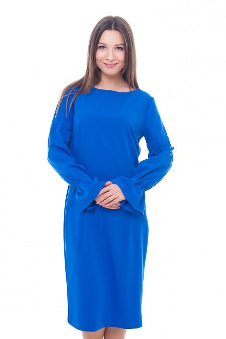 Платье электрик с лентой в рукавах Деловая женская одежда фото