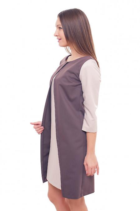 Купить платье коричневое с бежевыми рукавами Деловая женская одежда фото