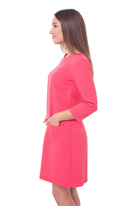 Купить нарядное розовое платье с карманами Деловая женская одежда фото