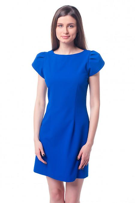 Платье синее с рукавом ракушка Деловая женская одежда фото