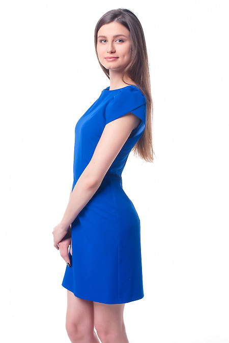 Купить платье синее с рукавом ракушка Деловая женская одежда фото