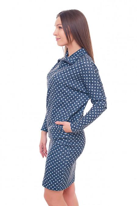 Купить платье синее в серый горох Деловая женская одежда фото
