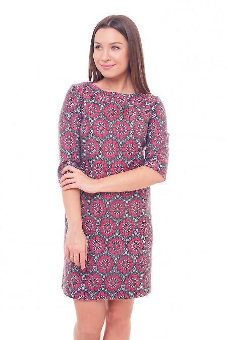 Платье теплое шерстяное в красные цветы Деловая женская одежда фото