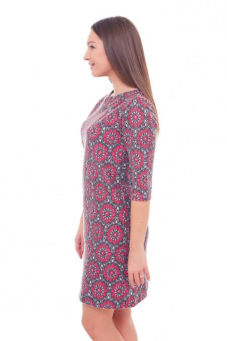 Купить платье теплое шерстяное в красные цветы Деловая женская одежда фото