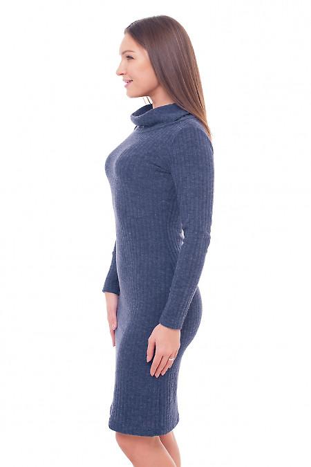 Купить платье теплое синее с воланом Деловая женская одежда фото
