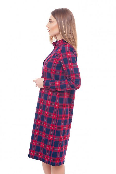 Купить платье теплое со стойкой в красную клетку Деловая женская одежда фото