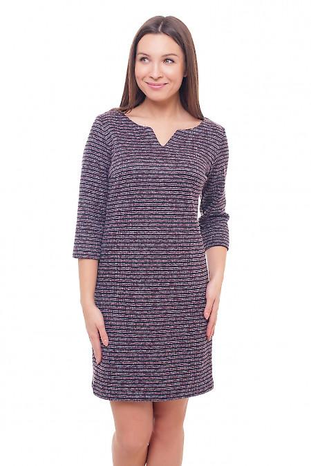 Платье теплое в сиреневую полоску Деловая женская одежда фото