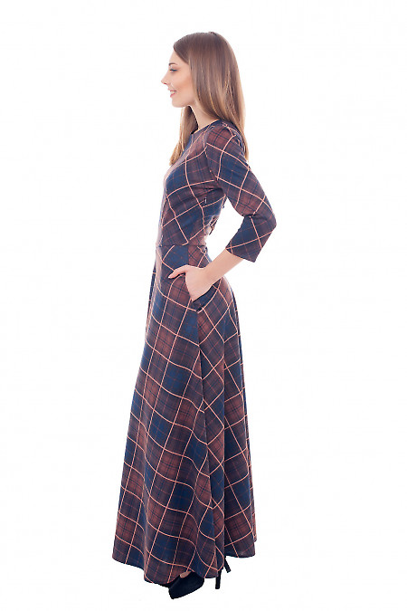 Купить платье в пол трикотажное в коричневую клетку Деловая женская одежда фото