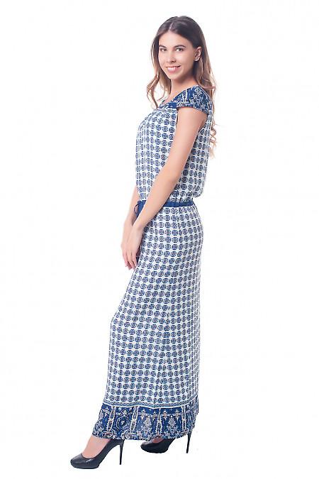 Купить платье в пол в синее кружочки Деловая женская одежда фото