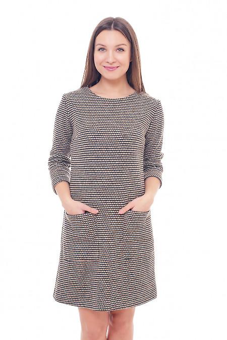 Платье в полоску теплое с накладными карманами Деловая женская одежда фото