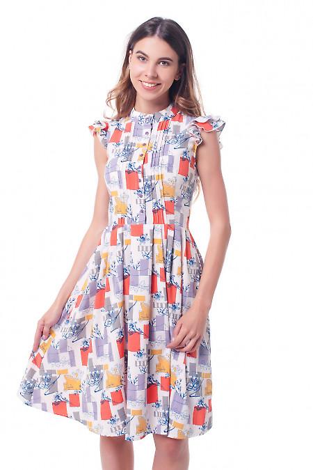 Платье в разноцветные квадратики Деловая женская одежда фото