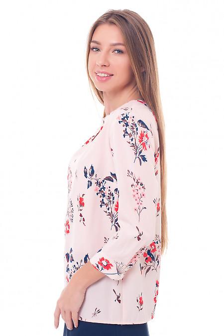 Купить розовую блузку с вырезом-капелька Деловая женская одежда фото