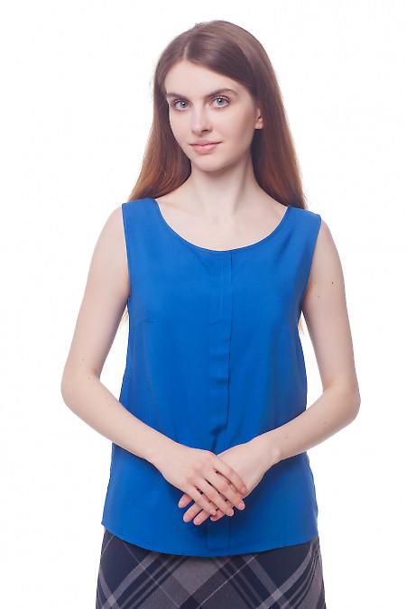 Синий топ с бантовой складкой Деловая женская одежда фото