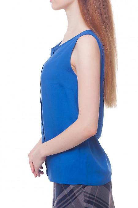 Купить синий топ с бантовой складкой Деловая женская одежда фото