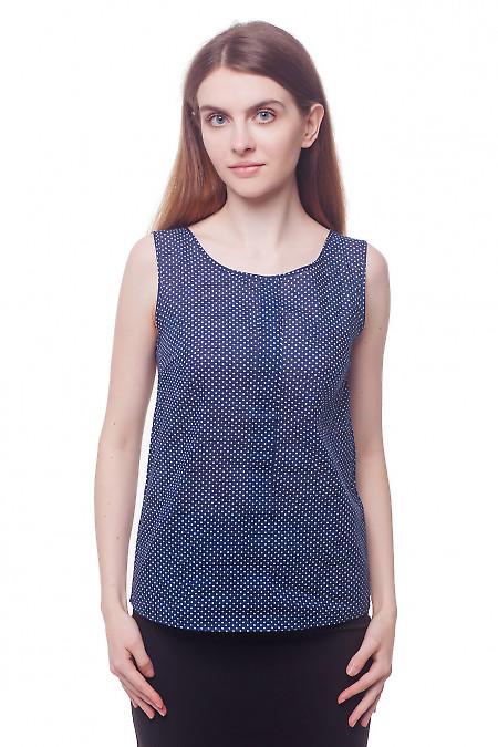 Топ синий в мелкий горох с планкой Деловая женская одежда фото