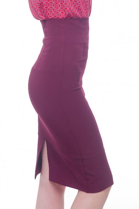 Купить юбку-карандаш бордовую с высокой талией Деловая женская одежда фото