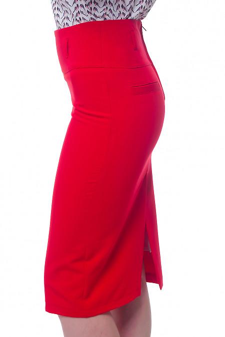 Купить юбку-карандаш красную на кокетке Деловая женская одежда фото