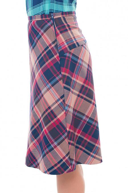 Купить юбку-трапецию в красную клетку Деловая женская одежда фото