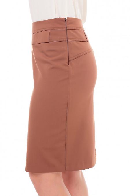 Купить коричневую юбку со шлевками Деловая женская одежда фото