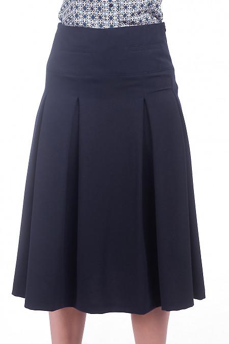 Юбка миди со складками синяя. Деловая женская одежда фото