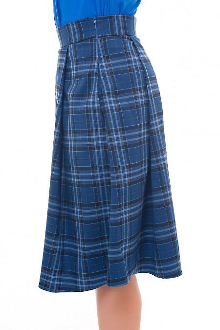 Купить юбку пышную синяя в клетку Деловая женская одежда фото