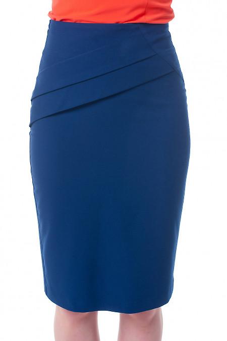 2d0c3ae1f57 Юбка темно-синяя с горизонтальными складками Деловая женская одежда фото  Купить ...