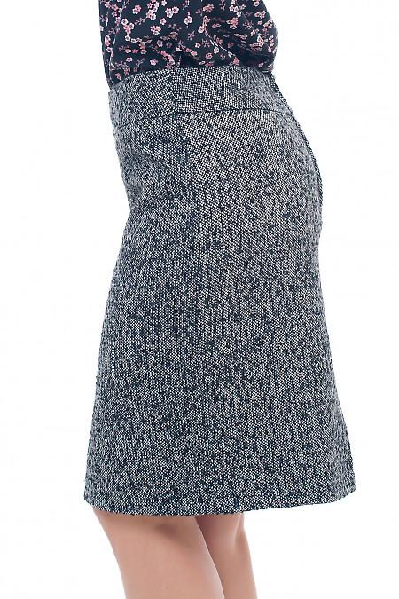 Купить теплую юбку из серого твида Деловая женская одежда фото