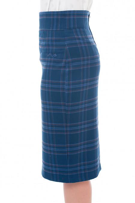 Купить теплую юбку в синюю крупную клетку Деловая женская одежда фото