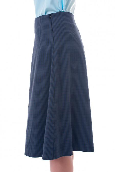 Купить юбку трапецию в мелкую синюю клетку Деловая женская одежда фото