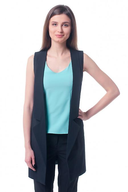 Жилет черный женский удлиненный Деловая женская одежда фото